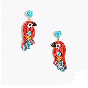 New J. Crew Beaded Parrot Statement Earrings